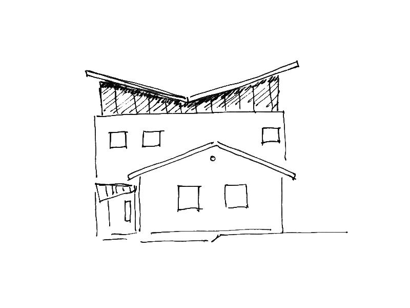 2001 Aufstockung Einfamilienhaus Skizze 2-1